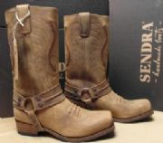 Stövlar mc skor Western Boots mc bred hög lädersula svart